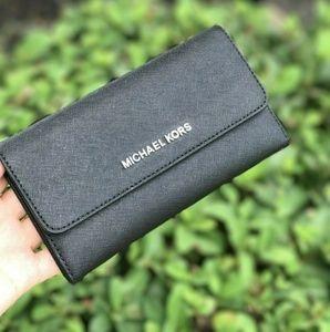 Michael Kors Jet Set LG Trifold Leather Wallet